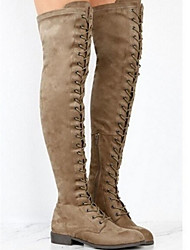 cheap -Women's Boots Over-The-Knee Boots Flat Heel Round Toe Suede Over The Knee Boots Winter Black / Brown / Army Green