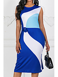 cheap -Women's Plus Size Green Blue Dress Work Summer Sheath Color Block S M Slim