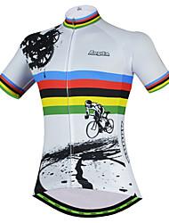 Недорогие -21Grams Радужный Шестерня Жен. С короткими рукавами Велокофты - Белый Велоспорт Джерси Верхняя часть Дышащий Влагоотводящие Быстровысыхающий Виды спорта Терилен Горные велосипеды Одежда