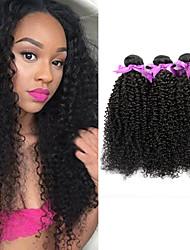 cheap -3 Bundles Brazilian Hair Kinky Curly Virgin Human Hair Natural Color Hair Weaves / Hair Bulk 8-28 inch Human Hair Weaves Human Hair Extensions / 10A