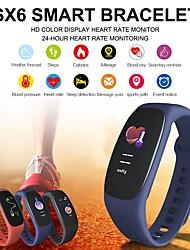 cheap -SX6 Smart Bracelet Heart Rate Blood Pressure Oxygen Sleep Monitoring Steps Call Information Waterproof Sports Fitness Wristband
