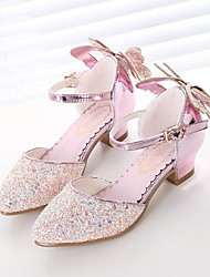 cheap -Girls' Comfort / Tiny Heels for Teens Synthetics Heels Big Kids(7years +) Bowknot / Sequin Silver / Blue / Pink Summer