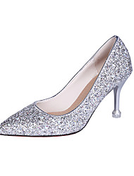 cheap -Women's Heels Glitter Crystal Sequined Jeweled Kitten Heel Pointed Toe Patent Leather British Spring &  Fall Pink / Gold / Silver / Daily / 3-4