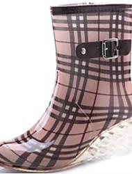 cheap -Women's Boots Rain Boots Wedge Heel PVC(Polyvinyl chloride) Mid-Calf Boots Spring Black / Brown / Light Pink