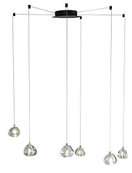 cheap -6-Light Modern Chandelier 6 Lights Hanging Lamp Dropping Pendant Ceiling Fixture Crystal G4 Led Bulbs Included for Dinning Living Office Cafe Room