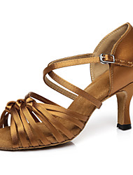 cheap -Women's Dance Shoes Faux Leather Latin Shoes Heel Flared Heel Customizable Nude / Brown / Performance / Practice