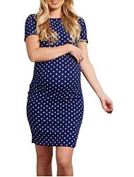 cheap -Women's Basic Sheath Dress - Polka Dot Blue M L XL