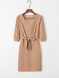 cheap -Women's Daily Casual A Line Dress - Solid Color Lace Blue Royal Blue Camel S M L XL