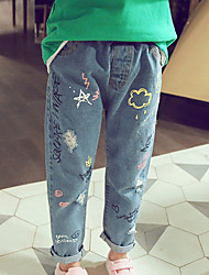 cheap -Kids Boys Girls Graffiti Printing Ripped Jeans