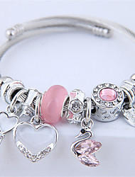 cheap -Women's Charm Bracelet Bracelet Bangles Bracelet Beads Swan Keys Heart European Sweet Fashion Cute Elegant Rhinestone Bracelet Jewelry Red / Pink / Gray For Wedding Party Gift Daily Prom