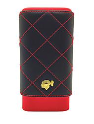 Недорогие -Cohiba 3 держателя, черный красный, портсигар из натуральной кожи с подкладкой из кедра, с красивой подарочной коробкой