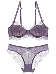 cheap -Women's Push-up Lace Bras Underwire Bra 3/4 Cup Bras & Panties Sets Lace Embroidered Black Purple Blushing Pink