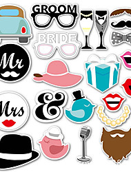 cheap -22Pcs/Set Single Lady Theme Funny Photo Booth Props, Creative Mr Mrs Bride Groom Photobooth Wedding Decor, Paper Crafts Events Birthday Party Supplies