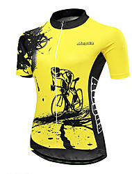 abordables -21Grams Equipement Femme Manches Courtes Maillot Velo Cyclisme - Noir Jaune Vélo Maillot Hauts / Top Respirable Evacuation de l'humidité Séchage rapide Des sports Térylène VTT Vélo tout terrain
