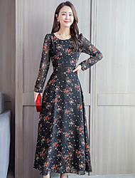 cheap -Women's Maxi Yellow Red Dress Swing Floral M L