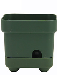cheap -Automatic Water Absorbing Plastic Flowerpot Square Plant Pot Home Office Decoration Green