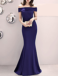 cheap -Mermaid / Trumpet Off Shoulder Sweep / Brush Train Satin Sexy / Blue Formal Evening / Wedding Guest Dress with Split Front 2020