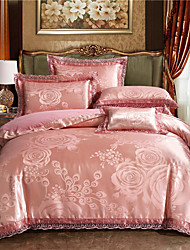 cheap -Luxury Bedding Sets Pink Rose Duvet Cover Sets 4 Piece Satin Embroidery Duvet Cover Set Luxury European Neoclassical Style (1 Duvet Cover, 1 Flat Sheet, 2 Shams)