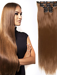 cheap -Hair Care Costume Accessories Extension Straight Matte Remy Human Hair Synthetic Hair 24 inch Hair Extension Clip In Clip In / On Toupee Dark Brown Light Brown 6Pcs / Lot Women Synthetic Easy dressing