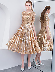 cheap -A-Line Jewel Neck Tea Length Sequined Sparkle & Shine / Elegant Cocktail Party / Holiday Dress 2020 with