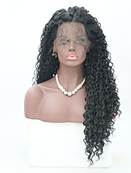 cheap -Human Hair Lace Wig Bouncy Curl Middle Part Lace Front Wig Long Natural Black Synthetic Hair 26 inch Women's Women Black