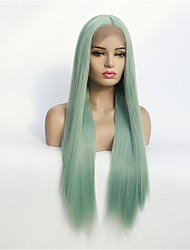 cheap -Synthetic Lace Front Wig Silky Straight Middle Part Lace Front Wig Medium Length Mint Green Synthetic Hair 8/10/12/14/16/18/20/22/24/26 inch Women's Synthetic Green