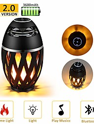 cheap -1pc LED Flame Lamp Bluetooth Speaker Touch Soft Light For iPhone Android Christmas Gift MP3 Player Speakers Super Bass Waterproof Loudspeaker