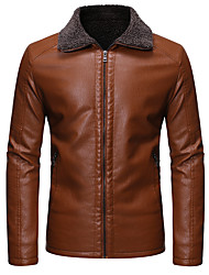 cheap -Men's Solid Colored Fur Trim Basic Spring &  Fall Faux Leather Jacket Regular Daily Long Sleeve PU Coat Tops Black