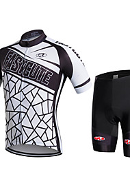 cheap -FUALRNY® Men's Short Sleeve Cycling Jersey with Shorts Black / White Black / Yellow Bike Moisture Wicking Quick Dry Sports Patchwork Mountain Bike MTB Road Bike Cycling Clothing Apparel / Stretchy