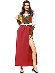 cheap -Oktoberfest Beer Dirndl Trachtenkleider Women's Vest Dress Bavarian Costume Dark red