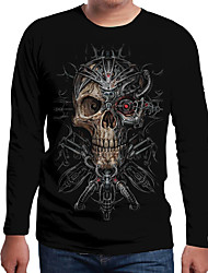 cheap -Men's Color Block 3D Print T-shirt Holiday Daily Wear Round Neck Black / Spring / Fall / Long Sleeve / Skull