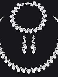 cheap -Women's Necklace Earrings Bracelet Luxury European Fashion Elegant Imitation Pearl Imitation Diamond Earrings Jewelry Silver For Wedding Party Engagement Gift Daily 1 set