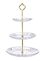 cheap -Transparent 3-layer Dessert Tray Fruit Plate Candy Dish Compote Home Ornaments Desktop Decoration