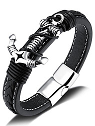 cheap -Men's Leather Bracelet Classic Anchor Stylish Alloy Bracelet Jewelry Black For Daily Holiday