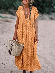 cheap -Women's Boho Maxi Abaya Dress - Geometric Floral Fashion Print V Neck Spring Yellow Light Blue Khaki XL XXL XXXL