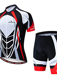 cheap -EVERVOLVE Men's Short Sleeve Cycling Jersey with Shorts Red+Black Bike Clothing Suit Breathable Moisture Wicking Quick Dry Anatomic Design Sports Lycra Geometry Mountain Bike MTB Road Bike Cycling