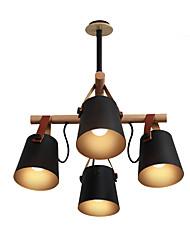 Недорогие -современный простой потолочный светильник полупрозрачный 4 светильника люстра потолочный светильник окрашенный металл металлический подвесной светильник голова вращающаяся с декором из цельного дерева