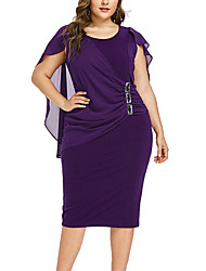 cheap -Women's Plus Size Sophisticated Elegant Sheath Dress - Solid Colored Pleated Patchwork Black Wine Purple XL XXL XXXL XXXXL Belt Not Included