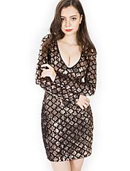 cheap -Diva Disco 1980s Dress Women's Sequins Costume Black / Golden / Red Vintage Cosplay Prom Long Sleeve Above Knee Sheath / Column