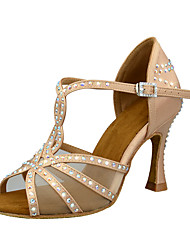 cheap -Women's Dance Shoes Satin Latin Shoes Crystals / Glitter / Crystal / Rhinestone Heel Flared Heel Customizable Black / Almond / Chocolate / Performance