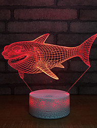 abordables -Cool shark 3d led color luz de la noche usb control remoto lámpara de escritorio home kid toys regalo multicolor