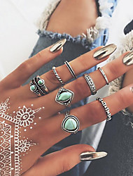 cheap -Women's Nail Finger Ring Ring Set Midi Ring Turquoise 8pcs Gold Alloy Round Bohemian Sweet Fashion Wedding Party Jewelry Vintage Style Drop Heart Crown Heart Cool Lovely