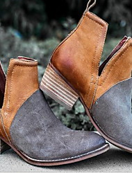 cheap -Women's Flats Block Heel Round Toe PU Summer Black / Brown / Burgundy