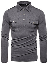 cheap -Men's Daily Wear Basic EU / US Size Linen Polo - Solid Colored Black / Long Sleeve