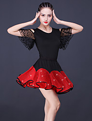 cheap -Latin Dance Skirts Glitter Split Joint Women's Training Performance Short Sleeve High Lace Milk Fiber Polyester