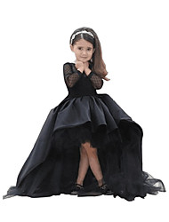 cheap -A-Line Asymmetrical Flower Girl Dress - Taffeta / Tulle Long Sleeve Jewel Neck with Crystals / Rhinestones / First Communion