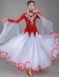 cheap -Ballroom Dance Dresses Women's Daily Wear Organza / Pleuche Appliques Long Sleeve Natural Dress / Neckwear