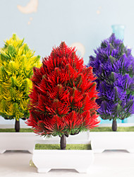 cheap -1Pc Simulation Christmas Tree Bonsai Plastic Green Plant Fake Flower Pot Planting Small Home Decorations Desktop Ornaments