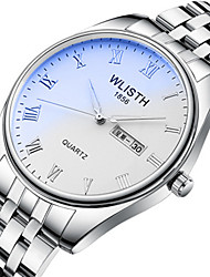 cheap -Men's Steel Band Watches Quartz Stylish Stainless Steel Silver Water Resistant / Waterproof Noctilucent Large Dial Analog Casual - White Black
