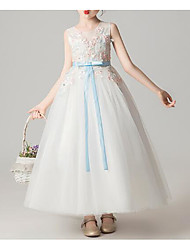 cheap -Princess Ankle Length Flower Girl Dress - Cotton / Polyester / Lace Sleeveless Jewel Neck with Appliques / Lace / Belt